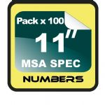 "11"" Race Numbers MSA SPEC - 100 pack"